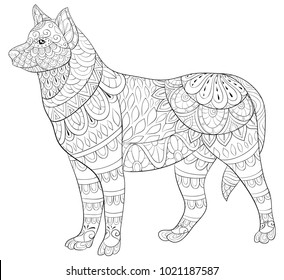 Adult coloring page,book a cute isolated dog,image for relaxing.Zen art style illustration.