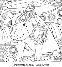 Adult coloring page,book a cute pig with a butterfly on the ear.Zen art style illustration.
