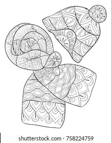 Adult coloring page,book a cute scarf and a cute cap for winter .Zen art style illustration.