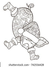 Adult coloring page,book  a dancing pig wearing boots and hat.Zen art style illustration.
