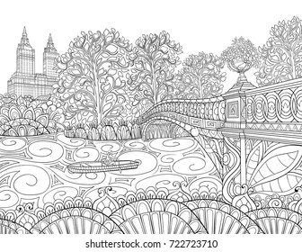 Adult Coloring Pagebook A Landscape With Bridge River And Trees Zen Tangle
