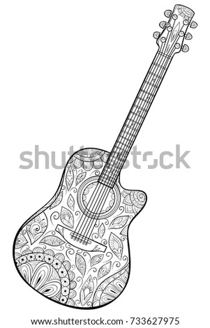 Adult Coloring Pagebook A Musical InstrumentguitarZen Art Style Illustration