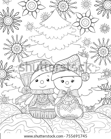 Adult Coloring Pagebook Pair Snowmen On Stock Vector Royalty Free