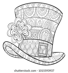 Adult coloring page,book a Saint Patrick Hat with clover  for relaxing.Zen art style illustration.