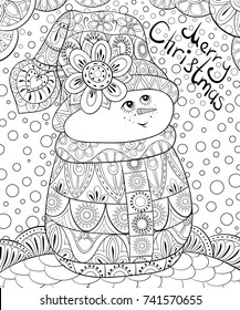 Adult coloring page,book a snowman.Zen art style illustration.
