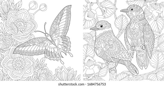 Adult coloring pages. Beautiful wild nature with birds and butterfly. Line art design for antistress colouring book in zentangle style. Vector illustration.