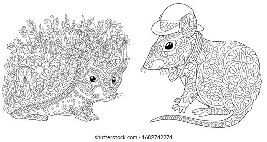 Hedgehog Colouring Collection High Res Stock Images Shutterstock