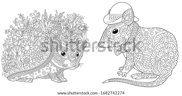 Adult Coloring Pages Hedgehog Flowers Cute Stock Vector (Royalty Free)  1682742274