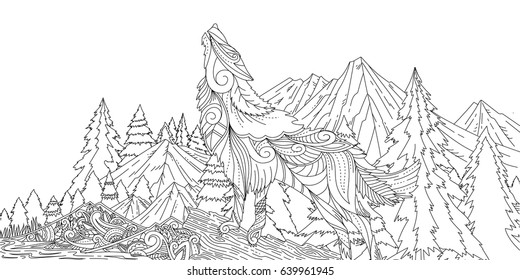 Adult Coloring Wolf Howling