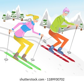 Adult couple during snowball fight in winter landscape (vector illustration)