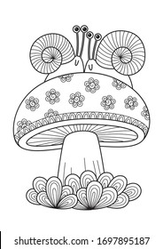 Adult doodle coloring book page snails on mushroom. Antistress zentangle.