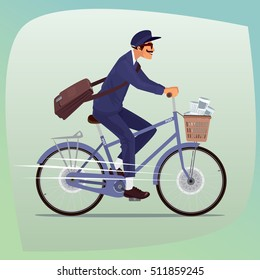 Adult funny man with mustache works as postman. He rides on bicycle with basket of newspapers and magazines. On the shoulder hanging bag with letters. Cartoon style. Vector illustration