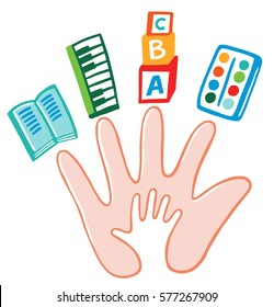 Adult hand and child's hand. Symbols of education