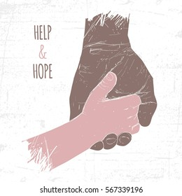 Adult hand holding a small child's hand, symbolizes the care, hope, support