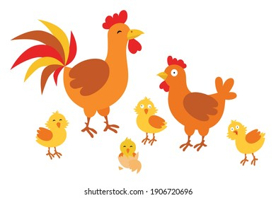 Adult hen and rooster with chickens on a white background. Cute chicken family with their chickens in cartoon style.