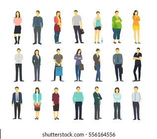 Adult human male and female person. Character fashion optimistic colors. Flat Vector Illustration