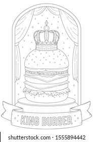 Adult and kid coloring page with delicious burger theme, fun and happy lifestyle