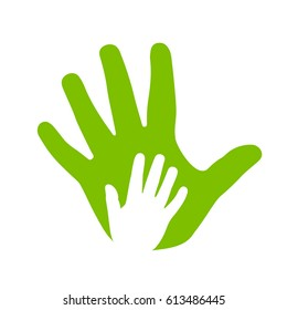 Adult and kid hands, family icon vector on white background