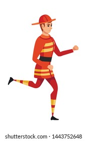 Adult male firefighter running on ground wearing fireproof form cartoon character design flat vector illustration