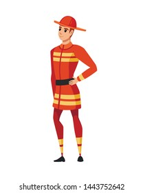 Adult male firefighter stand on ground wearing fireproof form cartoon character design flat vector illustration