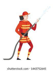Adult male firefighter stand on ground wearing fireproof form holding a fire hose and putting out a fire with water cartoon character design flat vector illustration