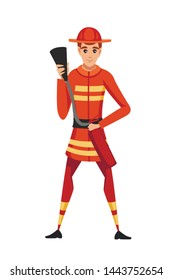 Adult male firefighter stand on ground wearing fireproof form holding a fire extinguisher and ready to go cartoon character design flat vector illustration