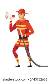 Adult male firefighter stand on ground wearing fireproof form holds a fire hose and speaks into a loudspeaker cartoon character design flat vector illustration