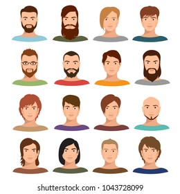 Adult male portraits vector collection. Internet profile mans cartoon faces. User profile human male avatar, social portrait face illustration