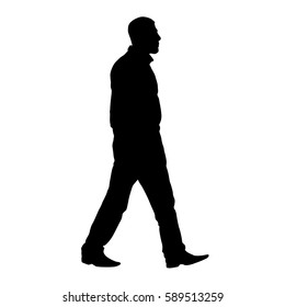 Adult male walking, side view, profile. Vector silhouette
