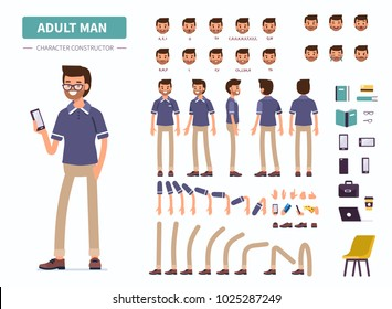 Adult man character constructor for animation. Front, side and back view. Flat  cartoon style vector illustration isolated on white background.