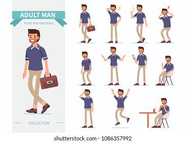 Adult man different poses and emotions. Flat style vector illustration isolated on white background.