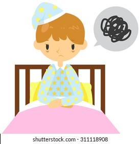 An adult man is having  insomnia problem and can't sleep on his bed, create by cartoon vector