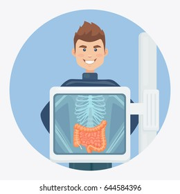 Adult man with lungs isolated on background. X-ray screen showing skeleton. Medical check up, inspect. Health examination, test. Healthcare concept. Cartoon character. Vector illustration.