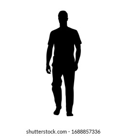 Adult man silhouette. Casual clothing. Isolated vector illustration. Standing man, front view