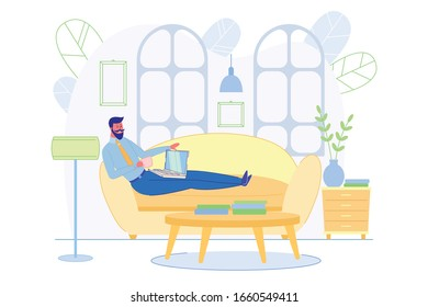 Adult Man Sitting Alone on Cozy Sofa and Work in Living Room Inside Home by Laptop and Drink Hot Coffee from Cup. Plants, Desk, Furniture on Background. Work on Comfortable Workplace in House