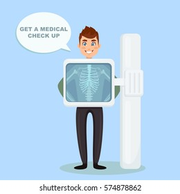 Adult man with speech bubble isolated on background. X-ray screen showing skeleton.   Medical check up. Health examination, test. Healthcare concept. Cartoon character. Vector illustration.