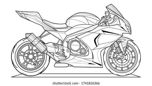 Adult motorcycle vector illustration coloring page for book and drawing. Line art without fill. Race. High speed vehicle. Graphic element. Black contour sketch illustrate Isolated on white background