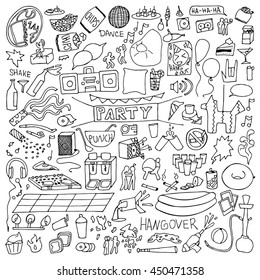Adult Party hand drawn Set. Vector illustration of doodle holiday elements