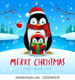 Adult penguin and baby penguin in Christmas snow scene. Christmas cute animal cartoon character.