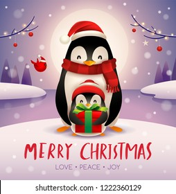 Adult penguin and baby penguin under the moonlight in Christmas snow scene. Christmas cute animal cartoon character.