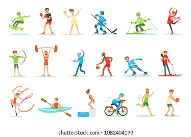 Adult People Practicing Different Olympic Sports Set Of Cartoon Characters In Sportive Uniform Participating In Competition