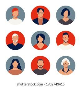 Adult People Profiles Icon Set