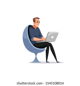 Adult person sitting on bean bag working on laptop computer. Flat style vector illustration on cheerful genderqueer character uses mobile device