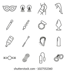 Adult Sex Toys or Adult Pleasure Toys Icons Thin Line Vector Illustration Set