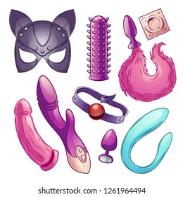 Adult sex toys for woman pleasure, role play cartoon vector set. Leather or latex pussycat mask with ears, condoms, butt plug with fluffy tail, mouth gag, dildos and vibrators illustrations collection