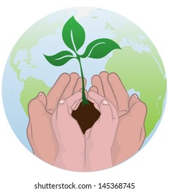 adult teaching a child to take care of earth by planting a tree. Vector illustration.