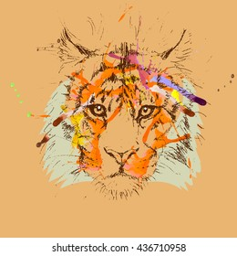 Adult tiger graphic, icon, vector