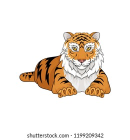 Adult tiger laying isolated on white background. Large wild animal with orange coat and black stripes. Vector design