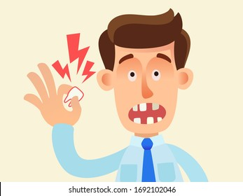 Adult tooth loss disease, edentulous, gum disease, scurvy. Toothless man holds a lost tooth in his hand. Harm of smoking. Vector illustration, flat design, cartoon style, isolated background.