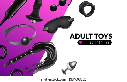 Adult toys illustration with fetish stuff for role playing and bdsm set realistic vector illustration